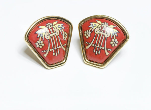 HERMES Paris Red Enamel Earrings
