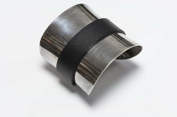 HERMES Paris Sterling Leather Cuff Bracelet