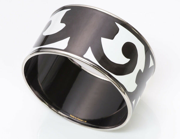 HERMES Palladium P Black White Enamel Bangle Bracelet