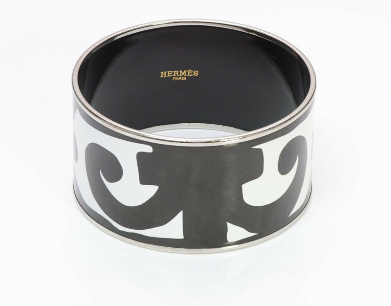 HERMES Wide Palladium Plated Black White Enamel Bangle