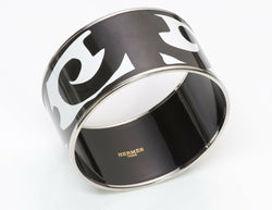 HERMES Wide Palladium Plated Black White Bracelet