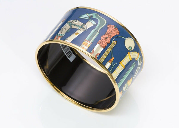 HERMES Cannes Extra Wide Blue Enamel Bangle Bracelet
