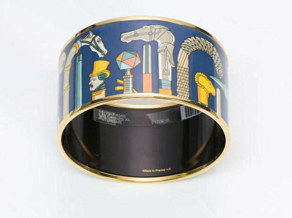 Les Cannes Hermes Extra Wide Blue Enamel Bracelet Bangle