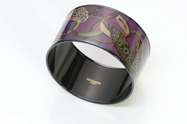 Hermes Wide Enamel Harness Saddle Bangle Bracelet