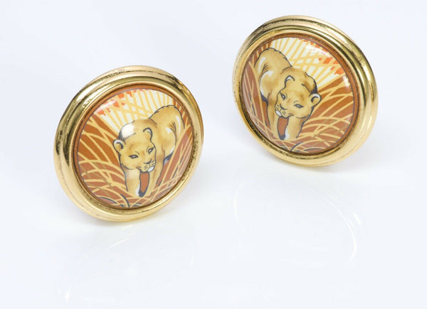 HERMES Enamel Lion Round Earrings 2