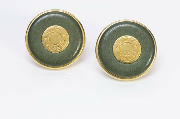 Hermes Paris Green Leather Earrings