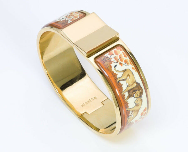 HERMES Paris Wide Clic Clac Enamel Lion Bangle