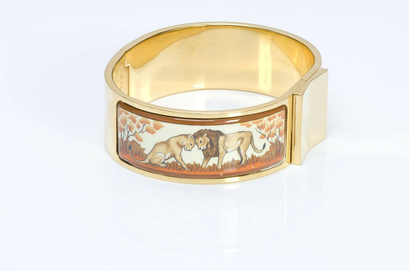 HERMES Clic Clac Enamel Lion Bangle Bracelet