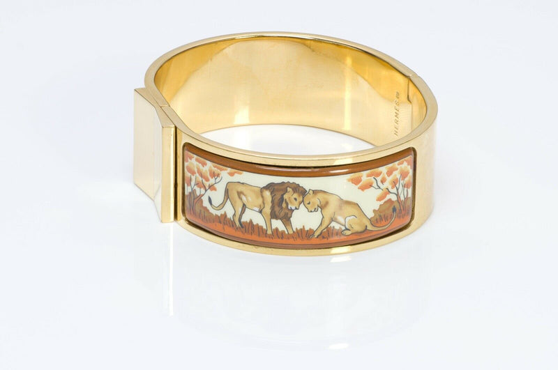 HERMES Paris Clic Clac Enamel Lion Bangle Bracelet
