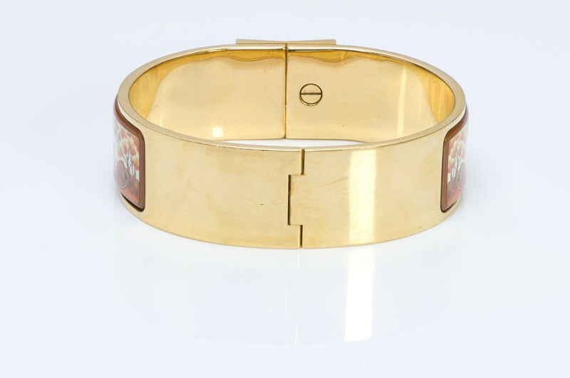 HERMES Paris Wide Clic Clac Enamel Lion Bangle Bracelet
