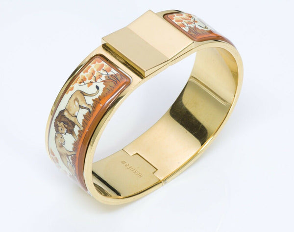 HERMES Wide Clic Clac Enamel Lion Bangle Bracelet