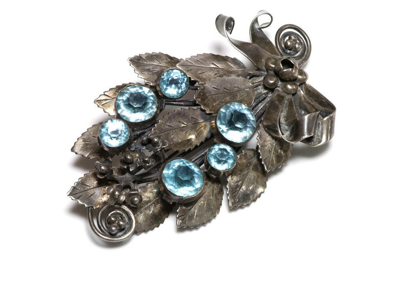 Bouquet with Rhinestone Flower /& Leaves in Chain Link Frame 499 BEAUTIFUL Hob\u00e9 mid-1940/'s Sterling Silver Floral Brooch