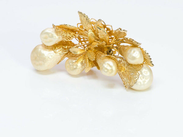 HOBE Vintage Baroque Pearls Leaf Brooch