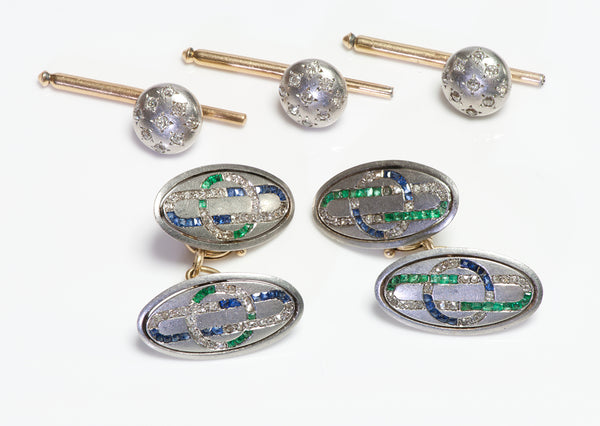 Haardt Et Davos Antique Platinum Emerald Sapphire & Diamond Cufflink & Stud Set