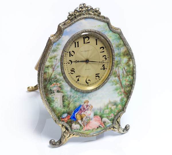 Antique Haas Neveux & Co. Silver Enamel Clock