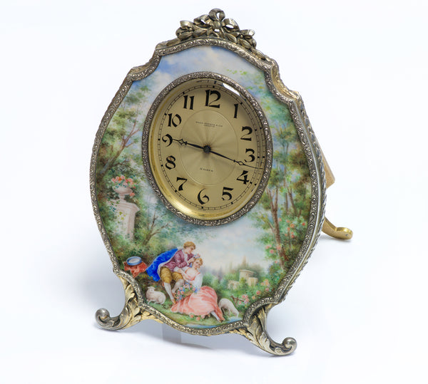 Haas Neveux & Co. Silver Enamel Clock
