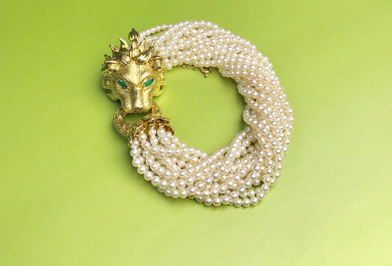 Hammerman Brothers Gold Lion Emerald Pearl Bracelet