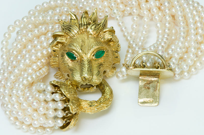 Hammerman Brothers Yellow Gold Lion Emerald Pearl Bracelet