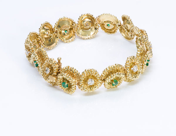Hammerman Brothers 18K Gold Emerald Diamond Bracelet