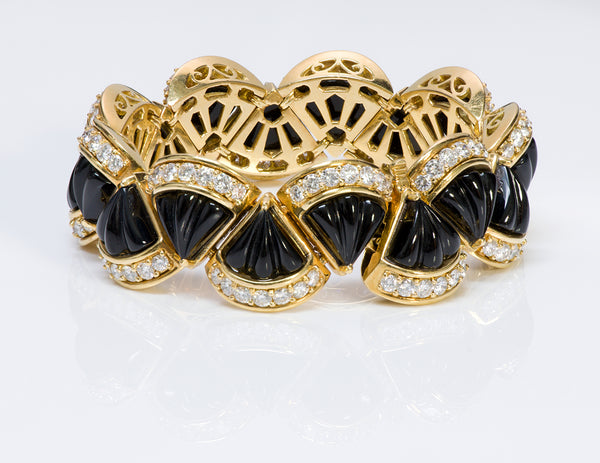 Hammerman Brothers 18K Gold Onyx Diamond Bracelet
