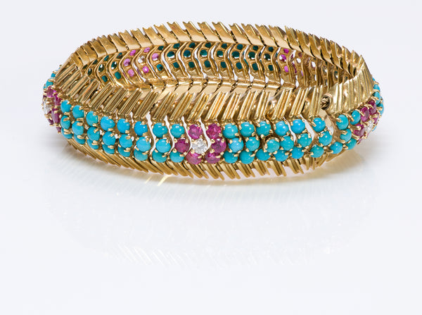 Hammerman Brothers 18K Gold Ruby Diamond Turquoise Bracelet