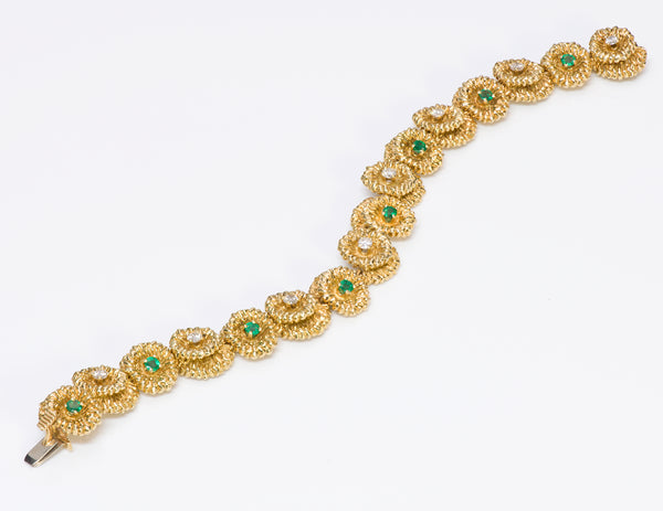 Hammerman Brothers Gold Emerald Diamond Bracelet