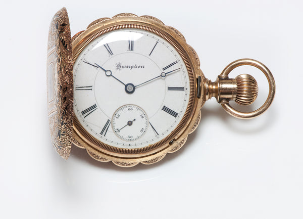 Hampden Antique 14K Gold & Enamel Pocket Watch