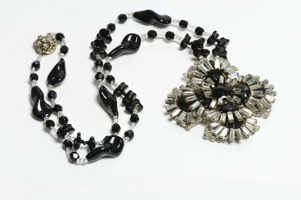 Miriam Haskell 1950's Black Glass Beads Flower Necklace
