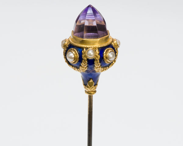 Antique Amethyst Gold Pearl & Enamel Hat Stick Pin