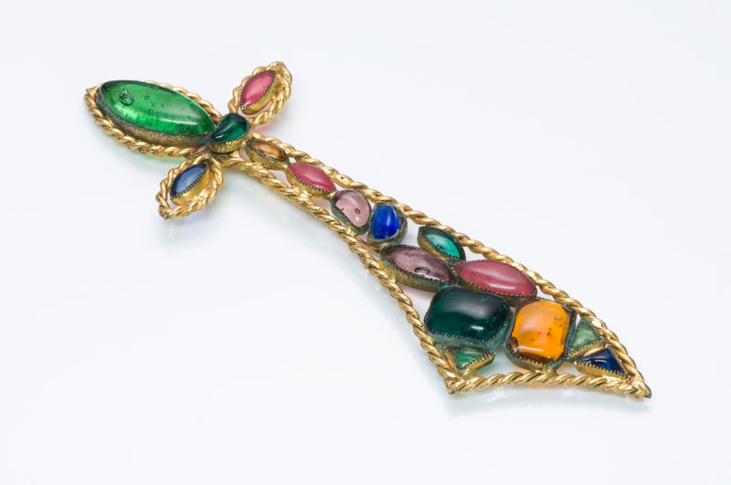 Vintage Hattie Carnegie Gripoix Glass Sword Brooch