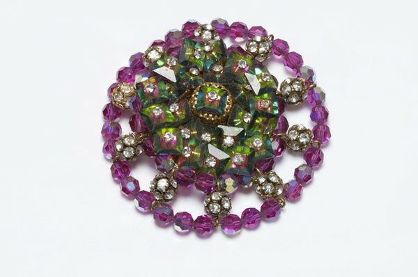 Hattie Carnegie 1950's Crystal Flower Brooch