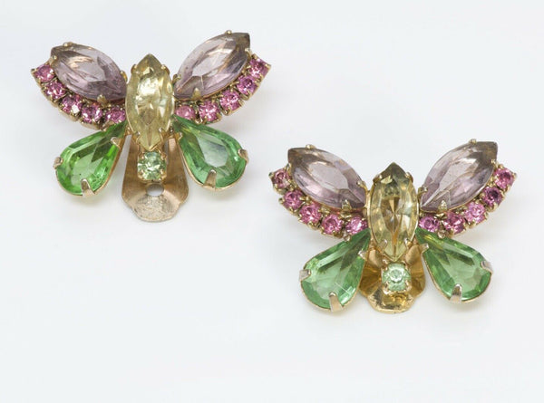Hattie Carnegie 1950's Crystal Butterfly Earrings
