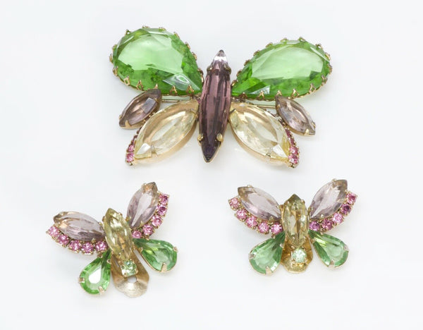 Hattie Carnegie 1950's Crystal Butterfly Earrings Brooch Set
