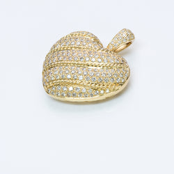 Pave Diamond 18K Gold Heart Pendant