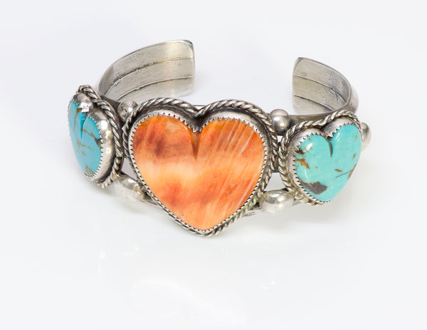 Native American Coral Heart Sterling Cuff