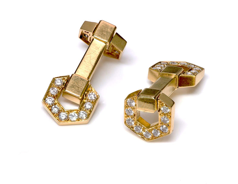 Hennell 18K Gold Diamond Stirrup Cufflinks