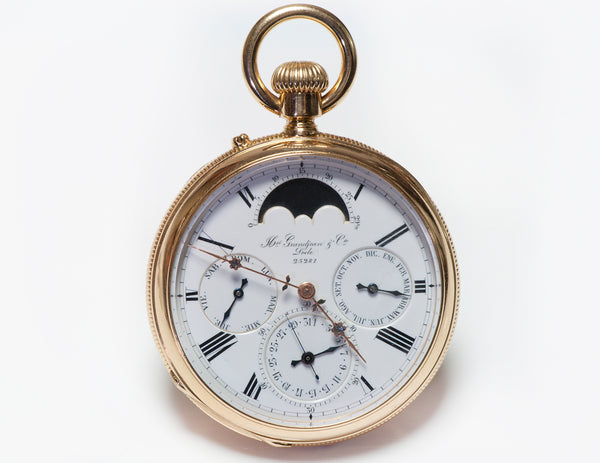 Henri Grandjean et Cie Le Locle Antique Gold Moon Phase Pocket Watch