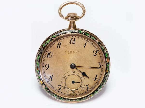 Henry Capt Antique Gold Enamel Pocket Watch