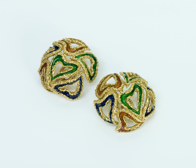Hermès 18K Gold Enamel Heart Earrings