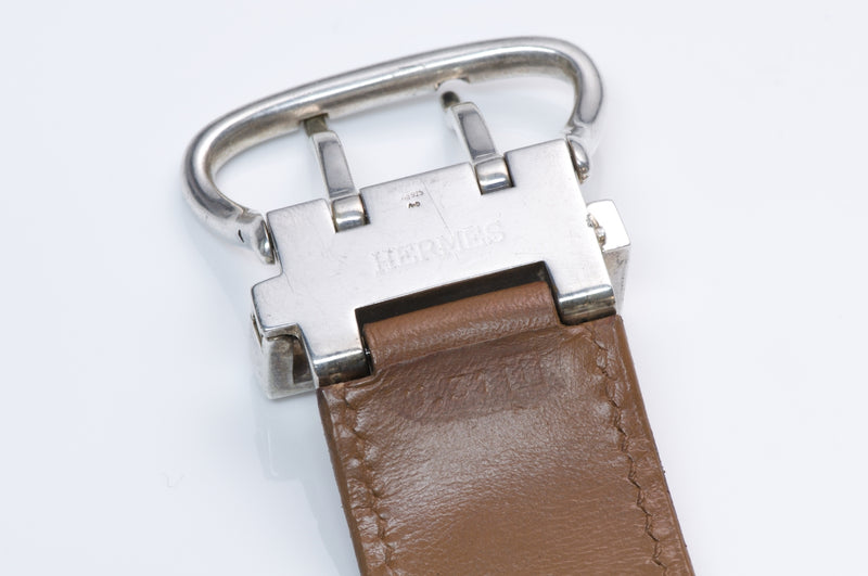 Hermès Silver Leather Buckle Bracelet