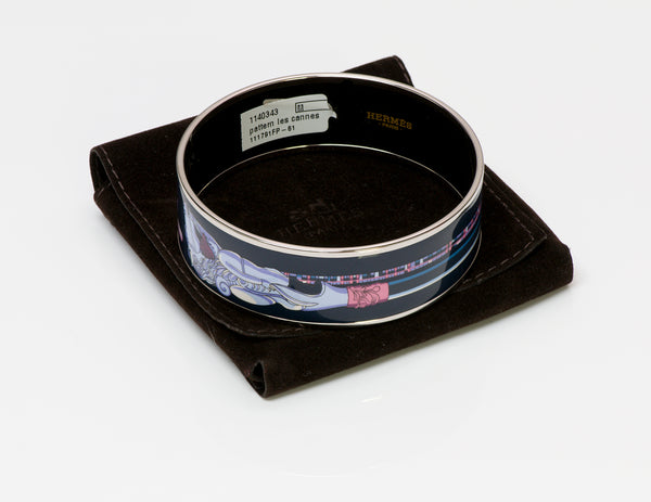 "Hermès ""Les Cannes"" Enamel Bangle Bracelet"