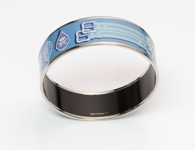 Hermès Enamel Buckle Bangle Bracelet