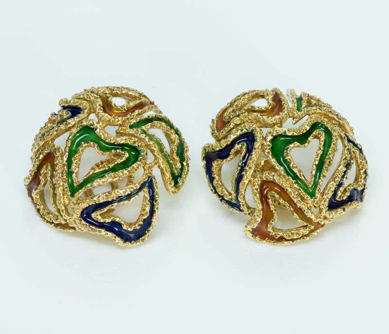 Hermès 18K Gold Enamel Earrings