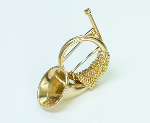 Hermes Paris 18K Yellow Gold Horn Brooch