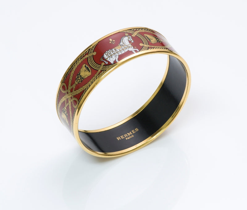 Hermès Gold Plated Enamel Bangle Bracelet
