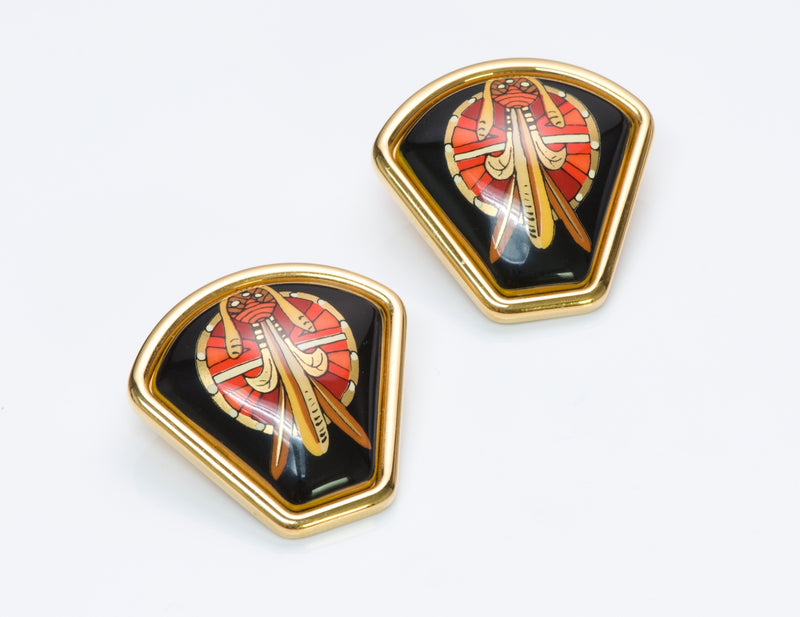 Hermès Enamel Fan Earrings