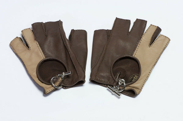 HERMES Brown Leather Toggle Fingerless Women's Gloves