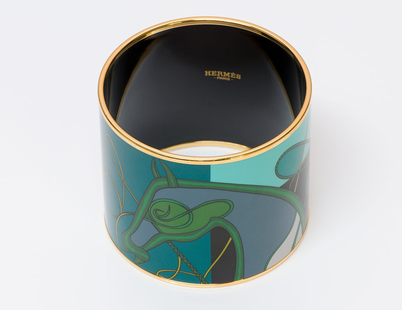 Hermes Wide Horse Enamel Bangle Bracelet