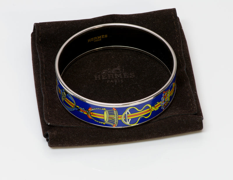 Hermes Wide Chain Blue Enamel Bangle Bracelet