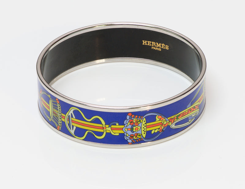 Hermes P Plated Chain Blue Enamel Bangle Bracelet